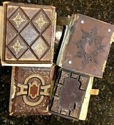 Lot Of 4 Civil War And Later Albums 104 Total Antique Photos Tintypes Cdvs Sa5
