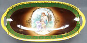 Cico Royal Vienna Style Classical Lady And Cherub Green Yellow And Gold Celery Dish