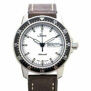 Sinn 104 St Sa A Pilot Watch White Dial Brown Cowhide Leather 41mm Box And Paper