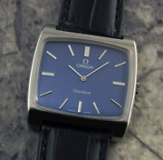 Antique Omega Large Square 1973 Navy Dial Watch Menand039s Used