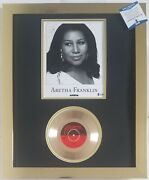 Aretha Franklin Signed Photo Beckett Coa Gold Record Display Music Autographed