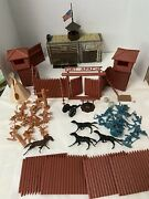 Vintage Marx Fort Apache Indian Calvary Play Set In Original Box 1960and039s