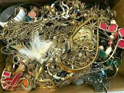 Vintage Mixed Lot Of 7lbs Jewelry Now Junk Craft Box Full Brooch Necklace More