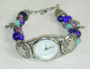 Southwest Traditions Liberty 1911 Ladies Watch On Sterling Silver And Beaded Band