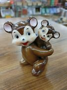 Vintage Napco 1940s Dad And Baby Monkey Salt And Pepper Shakers Made In Japan