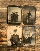 Lot Of Tintypes Of Men Occupational Beach Friends Group