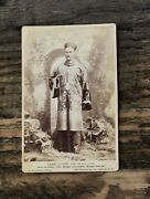 Rare Circus Sideshow Barnum Freak The Chinese Giant Cabinet Card Photo - Signed