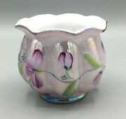 Fenton Iridescent Lavender Glass Ribbed Candle Holder Hand Painted Signed
