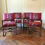 Antique 1800s Carved Oak Upholstered Armchairs Set Of 4 Barley Twist Arms / Legs