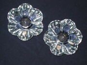 Orrefors Pair Ice Blue Crystal Candle Holders Large Very Heavy Vicke Lindstrand