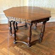 Reduced - Antique 1800s Oak Wood Intricately Carved Octagon Table