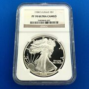 1988 S Proof Silver Eagle 999 Fine Silver Ngc Pf70 Ultra Cameo A Perfect Coin