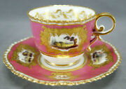 Coalport Hand Painted Cathedrals And Ruins Pink And Raised Gold Cup And Saucer C. 1827