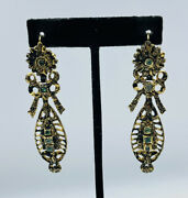 Antique Victorian Hungarian Sterling Silver Gold Vermeil Emerald Long Earrings