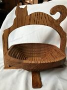 Cat Handmade Collapsible Oak Fruit Basket/trivet By Andy Pace New Old Stock