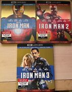 Iron Man 1/2/3 4k Blu Ray Only With Slipcovers Read The Description