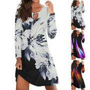 Womens Floral Summer Casual Long Sleeve Oversized Mini Smock Dresses Plus Size