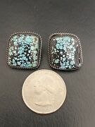 """Vintage Genevieve A Spiderweb Turquoise 925 Sterling Silver Earrings Signed 3/4"""""""