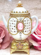 British Royal Family Collectibles Faberge Egg Music Teapot And Tiara And Coin 24k Hm