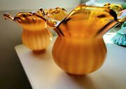 Vintage A Pair Of Fenton Amber/white Glass Lamp Shade