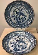 Antique/vintage Two Japanese Porcelain Blue And White Dishes Diameter 14 1/2 Each