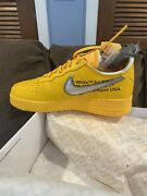 Nike Air Force 1 Off-white University Gold Metallic Silver - 9.5m Ds/new Rare