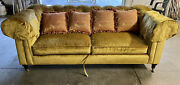 Lillian August By Drexel Velvet Vintage Tufted Sofa Yellow-gold Couch On Wheels