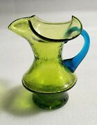 Vintage Mcm Rainbow Glass Duo Crackle Vase Green Glass Blue Handle Syrup