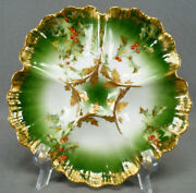 Tandv Limoges Holly Berry Pattern Red Green And Gold Oyster Plate C. 1892-1907