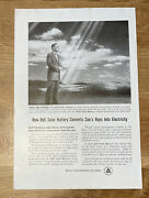 Print Ad 1954 Bell Solar Battery Converts Sun's Rays Into Electricity Advert
