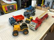 Vintage Tonka Toys Pressed Steel 1970's Dump Truck And Dune Buggy Fire Truck Fair