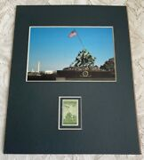 World War Ii Iwo Jima Memorial Matted Photo And 1945 3 Cent Stamp Fits 8x10