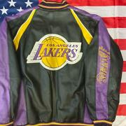 Super Rare Vintage 90and039s Nba Lakers Leather Jacket Menand039s Size Xxl From Japan