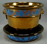 Large 19th Century British Copper Luster And Blue Floral Lions Heads Flower Pot