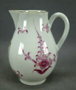 Dr Wall Worcester Hand Painted Pink Floral And Gold Scrollwork Creamer Circa 1770