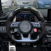 Led Carbon Fiber Steering Wheel Fit In Audi Rs3 Rs4 Rs5 Rs6 S3 S4 S5 Long Paddle