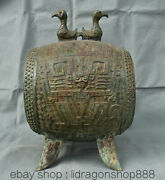13.8 Antique Chine Bronze Ware Dynasty Palace People Beast 2 Bird Drum Statue