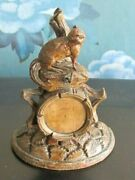 Rare Antique Victorian Black Forest Wood Hand Carved Squirrel Pocket Watch Stand