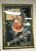 Antique Rare Vintage Home Lines Christmas Poster 1940andrsquos