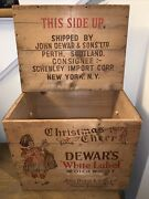 Vintage Wood Dewars And Sons Christmas Cheer Scotch Whisky Crate New York Ny Lid