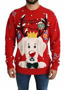 Dolceandgabbana Men Red Sweater Cashmere Christmas Print Thermal Holiday Pullover