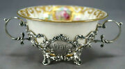 Lenox Hand Painted Pink Rose Raised Gold And Gorham Sterling A2595 Bouillon Cup A