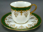 Coalport Ad4463 Green And Raised Gold Scrollwork Demitasse Cup And Saucer C1891-1920