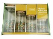 Vintage Rare Libbey Glass Spice Garden Canisters Set Natural Cork Stoppers New
