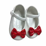 Vintage 1992 Dept 56 Mary Jane White Shoes Red Bow Christmas Porcelain Ornament
