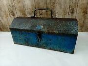Vintage Small Tool Box Blue With Tray Inside - Used Barn Find 14x6x6 Inch