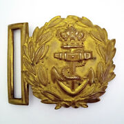 Nice Example Antique British Royal Naval Officers Belt Buckle Pre 1901 Gilded