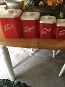 Vintage Lustro-ware Plastic Canister Set Of 4 Red And White Flour Sugar Coffee Tea