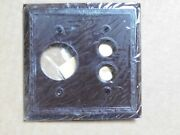 Antique Push Button Switch Round Outlet Combination Cover Plate Bakelite Rare
