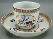 18th Century Chinese Export Hand Painted Pink Roses Red Gold Coffee Cup And Saucer
